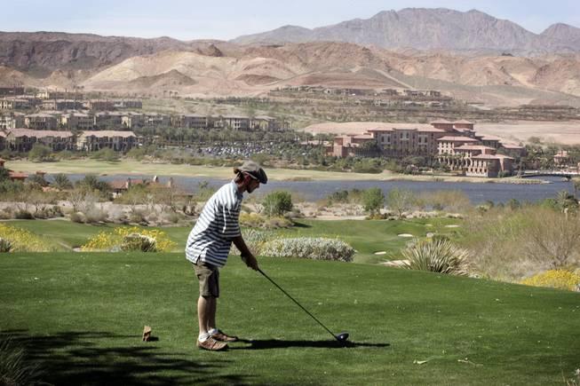 Keegan Stokes of Walnut Creek, Calif., tees off at SouthShore Golf Club at ...