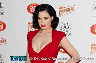 Dita Von Teese arrives for her featured performance in MGM Grand's Crazy Horse Paris on March 31, 2010.