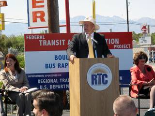 RTC General Manager Jacob Snow speaks at the groundbreaking of the new ACE Green Line, which will run down Boulder Highway from downtown Las Vegas to Henderson.
