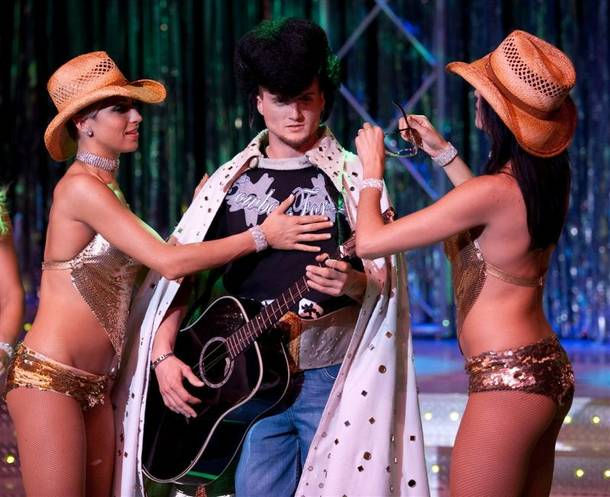 Professional Bull Rider Ryan McConnel takes the stage during a performance of Fantasy at the Luxor.