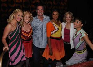 Lon Kruger and Barbara Kruger, second from right, with cast members of Cirque du Soleil's Viva Elvis at Aria on April 17, 2010.