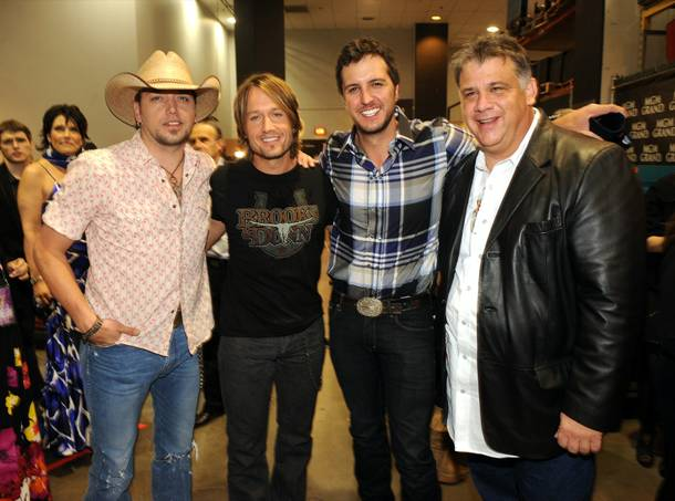 Jason Aldean, Keith Urban, Luke Bryan and Academy of Country Music Executive Director Bob Romeo backstage during ACM Presents: Brooks & Dunn - The Last Rodeo at MGM Grand Garden Arena on April 19, 2010.