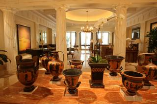 Grecian-style vases sit on a table in the entryway of the Greek villa at Caesars Palace's Octavius Tower. The villa is one of three in the Octavius Tower and is nearly 10,000 square feet.