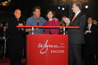 Allan Zeman, Steve Wynn, Linda Chen and Ian Coughlan at the grand opening of Encore Macau on April 21, 2010.