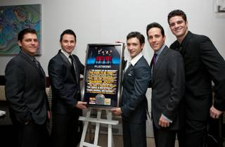 Deven May, Travis Cloer, Rick Faugno, Jeff Leibow and Peter Saide celebrate Jersey Boys' second anniversary on The Strip with a platinum record commemoration at the Palazzo on April 24, 2010.