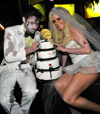 Nick Carpenter and Bridget Marquardt at the Halfway to Halloween Party at Eve inside CityCenter's Crystals on April 24, 2010.