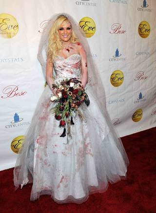 Bridget Marquardt arrives at the Halfway to Halloween Party at Eve inside CityCenter' Crystals on April 24, 2010.