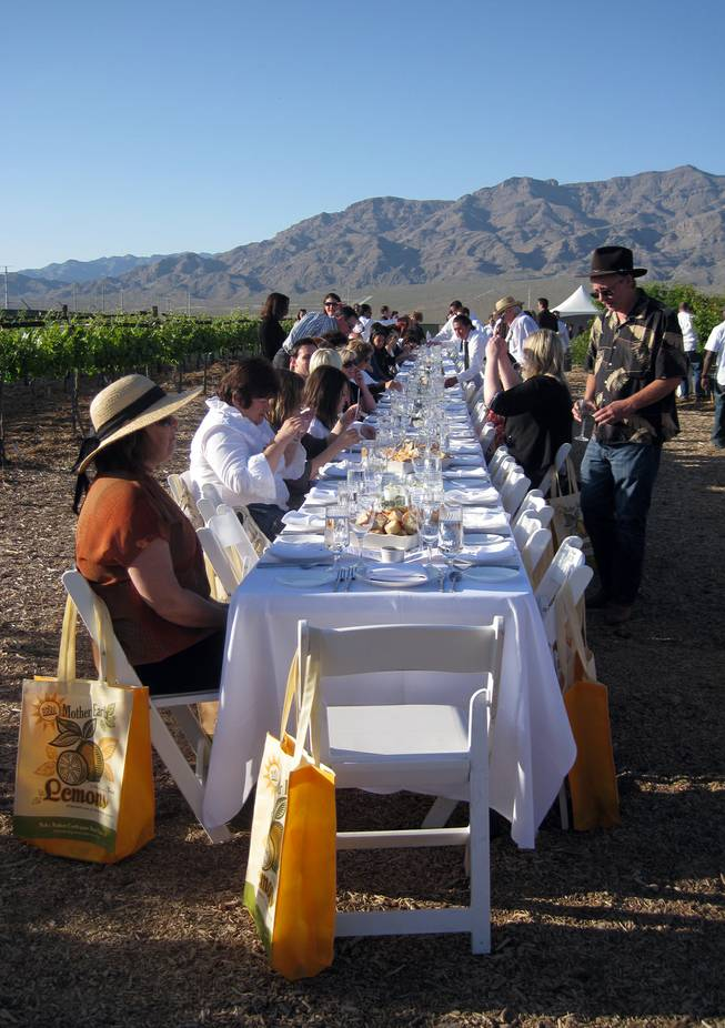 More than 100 guests gathered at one elegantly set table for Project Dinner Table's first go-round April 24, 2010 at the University of Nevada Cooperative Extension orchard in North Las Vegas.