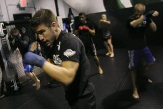 UFC lightweight fighter Sam Stout works out in preparation for his upcoming fight Wednesday, April 28, 2010.