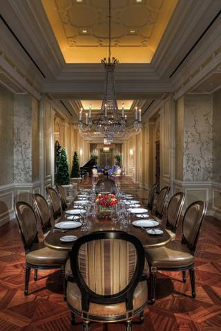 The dining room inside the French villa at Caesars Palace's Octavius Tower.