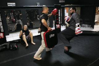 Johny Hendricks works with trainer Ken Hahn April 29th, 2010. Hendricks will face TJ Grant at UFC 113 on May 8th.