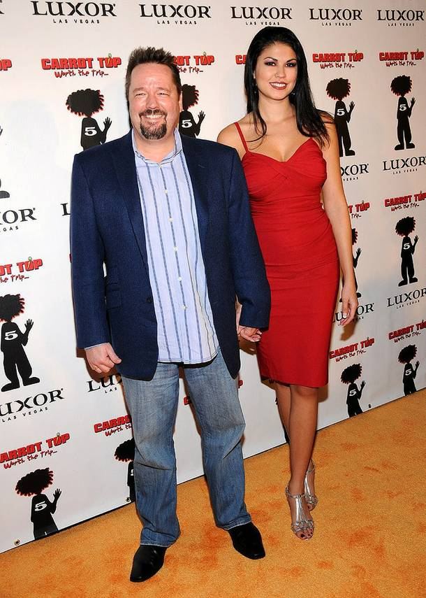 Terry Fator and Taylor Makakoa at Carrot Top's fifth-anniversary celebration at the Luxor on Dec. 20, 2010.