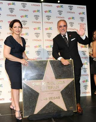 Gloria and Emilio Estefan receive a Las Vegas Walk of Stars honor at The Crown Theater in The Rio on April 29, 2010.