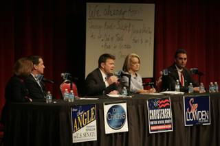 Chad Christensen answers a question Friday during a Republican debate sponsored by conservative talk radio station KDWN.