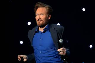 Conan O'Brien performs at the Pearl Theater inside the Palms Saturday during his Legally Prohibited From Being Funny On Television Tour.