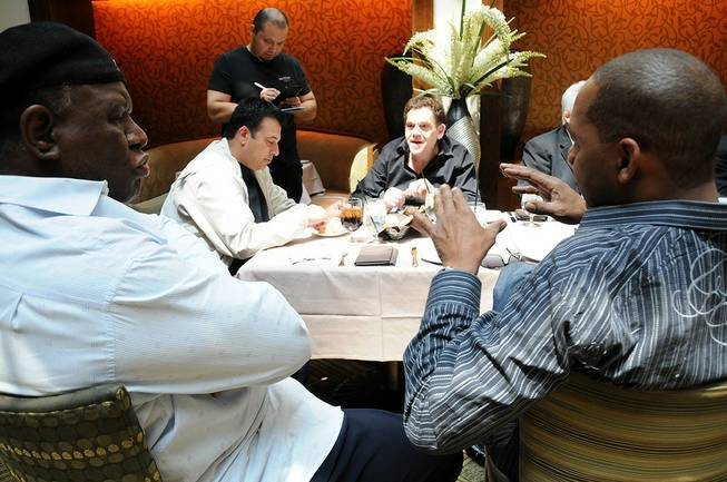 Comics George Wallace, Mark Curry, Vinnie Favorito and Charlie Fleischer attend a lunch marking the Improv Comedy Club's 15th anniversary at Harrah's.