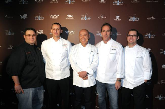 Chefs Isaac Carter, Sven Mede, Masa Takayama, Shawn McClain and Robert Moore on the red carpet at the Vegas Uncork'd kickoff at The Hotel at Mandalay Bay on May 6, 2010.