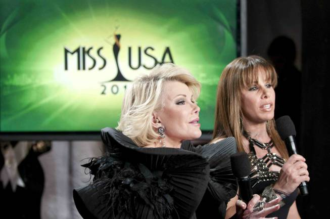 Joan and Melissa Rivers report backstage during the 2010 Miss USA Pageant at Planet Hollywood on May 16, 2010.