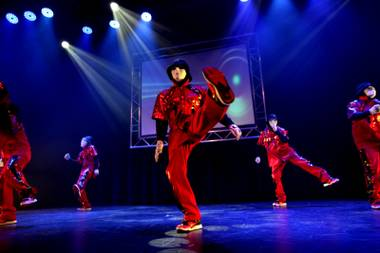 The Jabbawockeez perform during the opening of their new show Friday at the Hollywood Theater at MGM.