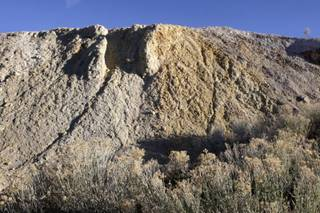 Early morning light illuminates a tailings mound in Tonopah May 07, 2010.