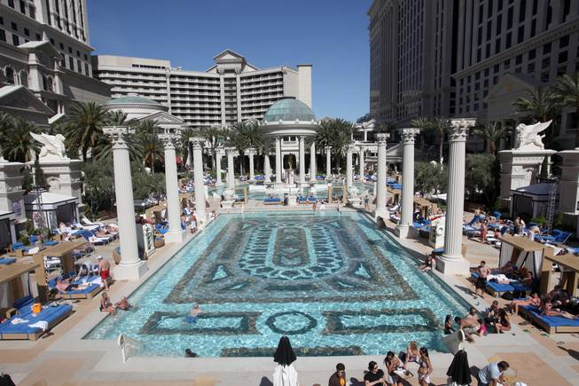 Caesars Palace opened its newly expanded Garden of the Gods pool complex in March 2010. The resort added five new pools, creating a massive eight pool, 5-acre pool complex in the center of its collection of Roman-style building.