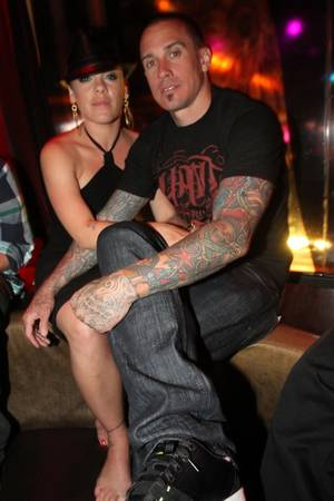 Pink and Carey Hart at Wasted Space in the Hard Rock Hotel on May 8, 2010.