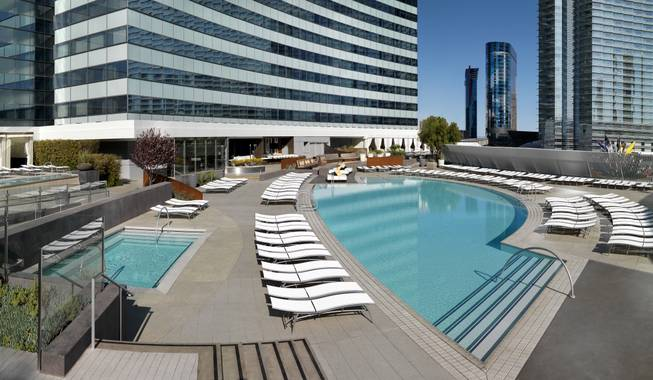 The pool deck at Vdara.