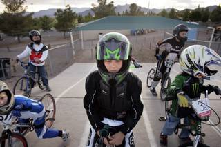Cooper Brow, 9, waits to ride during an open practice session Wednesday at the Boulder City BMX track.