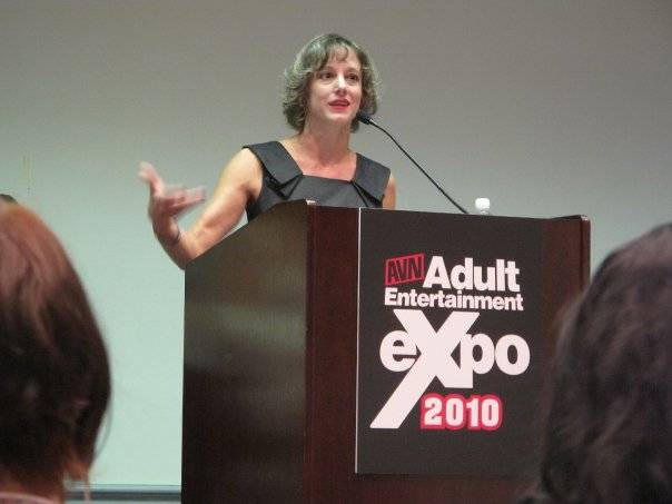 Lynn Comella, shown during an appearance at this year's Adult Entertainment Expo.