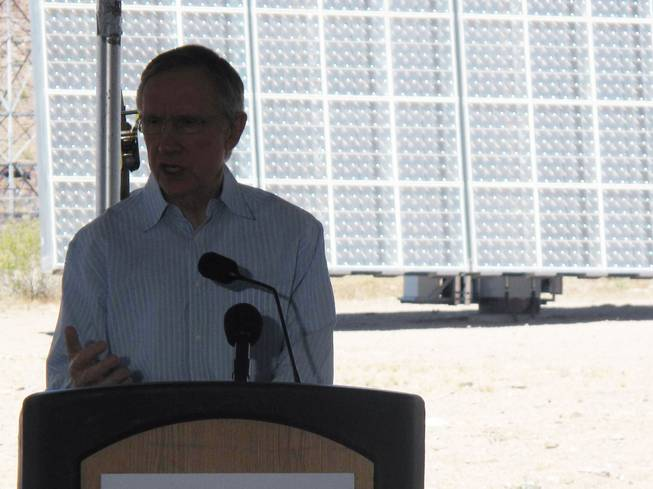 "Sen. Harry Reid speaks Saturday at a ""flip the switch"" ceremony for a new solar power plant at the Southern Nevada Water Authority's water treatment facility in Henderson."