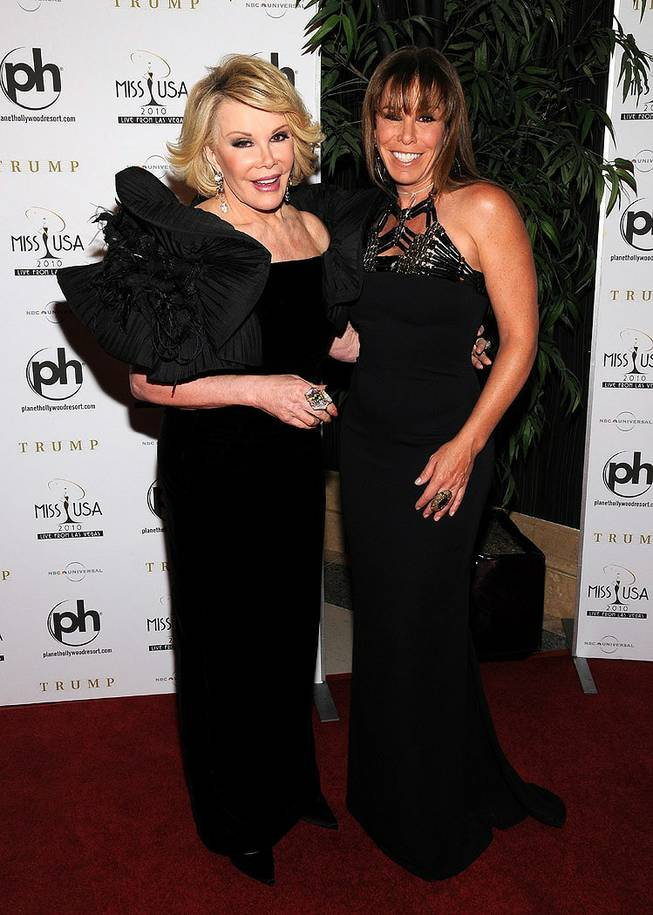 Joan and Melissa Rivers on the red carpet of the 2010 Miss USA Pageant at Planet Hollywood on May 16, 2010.
