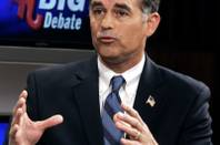 "Candidate Danny Tarkanian speaks during a debate among the Republican U.S. Senate candidates on ""Face to Face with Jon Ralston"" at the KVBC studios in Las Vegas Tuesday, May 18, 2010."