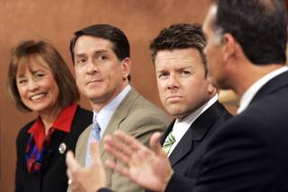 Sharron Angle, from left, John Chachas and Chad Christensen look on as Danny Tarkanian speaks during a debate among the Republican  U.S. Senate candidates on