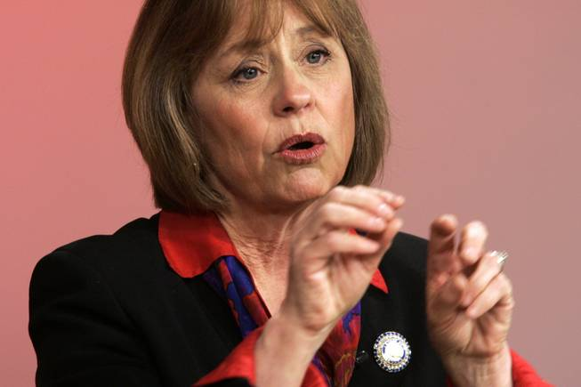 "Sharron Angle speaks during a debate among the Republican U.S. Senate candidates on ""Face to Face with Jon Ralston"" at the KVBC studios in Las Vegas Tuesday, May 18, 2010."