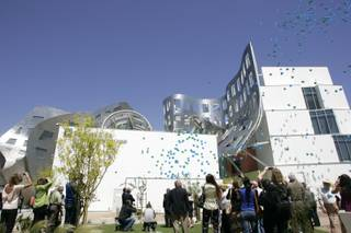 Balloons containing memories written on strips of paper are released at the grand opening of the Cleveland Clinic Lou Ruvo Center for Brain Health Friday, May 21, 2010 in Las Vegas.