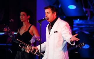 Louis Prima Jr. and The Witnesses featuring Sarah Spiegel perform at the Hard Rock Cafe on The Strip on May 21, 2010.