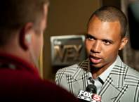 Phil Ivey speaks to the media at the grand opening of The Ivey Room, an exclusive one-table high-limit room named in honor of seven-time World Series of Poker champion Phil Ivey at Aria on May 22, 2010.