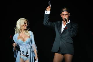 Emcees Holly Madison and Josh Strickland host Broadway Bares Las Vegas, the first benefit striptease show featuring performers from the Strip, on Sunday, May 24, 2010, at Planet Hollywood.