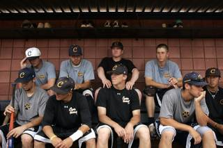 The team rests in the dug out after baseball practice at the College of Southern Nevada's Henderson campus Tuesday, May 25, 2010.