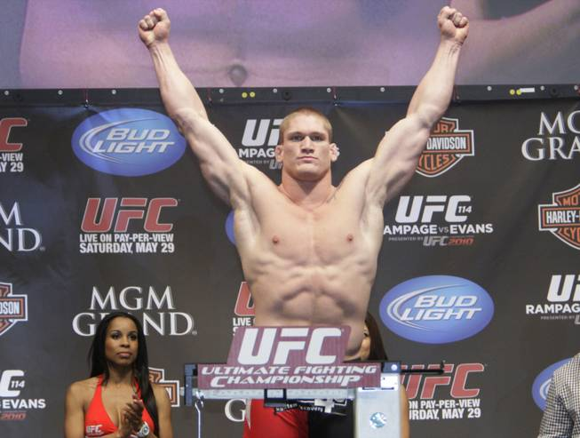 Todd Duffee weighs in for UFC 114 at the Mandalay Bay Events Center May 28, 2010. UFC 114 takes place at the MGM Grand Grand Garden Arena Saturday.