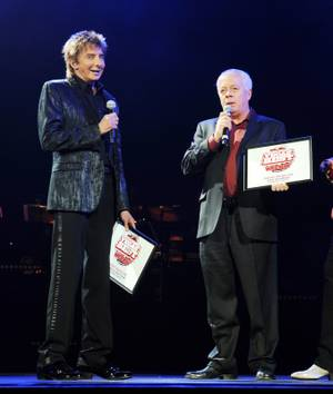 Barry Manilow and Bruce Spotleson at the Paris on May 29, 2010.