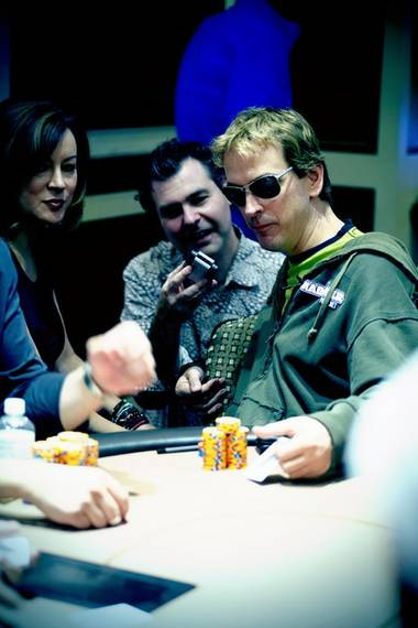 Jennifer Tilly, Steve Friess and Phil Laak at the Bellagio.