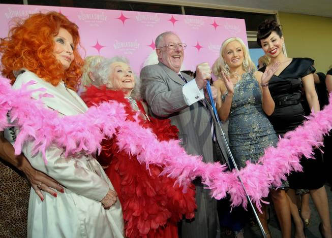 Tempest Storm, Dixie Evans, Mayor Oscar Goodman, Holly Madison and reigning Miss Exotic World and Las Vegas resident Kalani Kokonuts during the ribbon-cutting ceremony for the Burlesque Hall of Fame Museum Grand Opening at Emergency Arts on East Fremont Street on June 4, 2010.