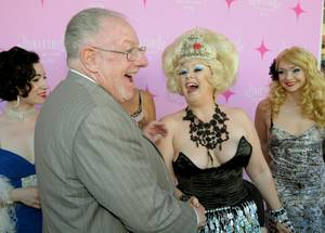 Mayor Oscar Goodman greets past Miss Exotic World girls before the ribbon-cutting ceremony for the Burlesque Hall of Fame Museum Grand Opening at Emergency Arts on East Fremont Street on June 4, 2010.
