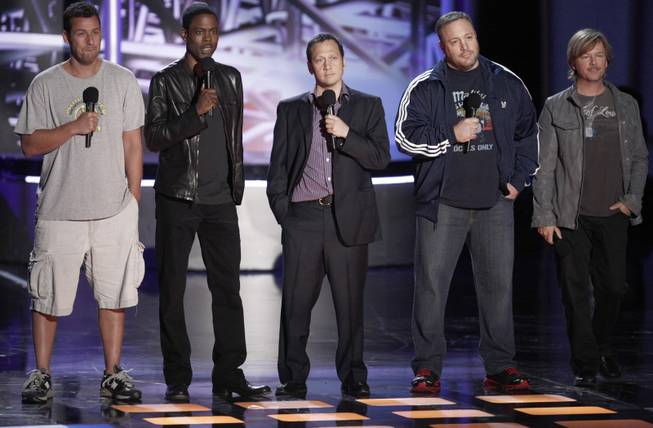 From left, Adam Sandler, Chris Rock, Rob Schneider, Kevin James and David Spade present the award for best female performance at the MTV Movie Awards in Universal City, Calif., on Sunday, June 6, 2010.  (AP Photo/Matt Sayles)