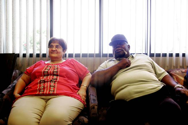 Tyrone Bush and his wife Martha sits in the waiting room in their lawyer's office in downtown Las Vegas Friday, June 11, 2010. In September 2008, Bush had a quadruple heart bypass operation at Desert Springs Hospital Medical Center. The operation was successful, but he developed severe decubitus ulcers, or bedsores, on his buttocks and heels after not being turned or moved enough in his hospital bed. Two years later, Bush cannot work, the wounds are still healing and still cause him severe pain. The Bush's have filed a lawsuit against Desert Springs.