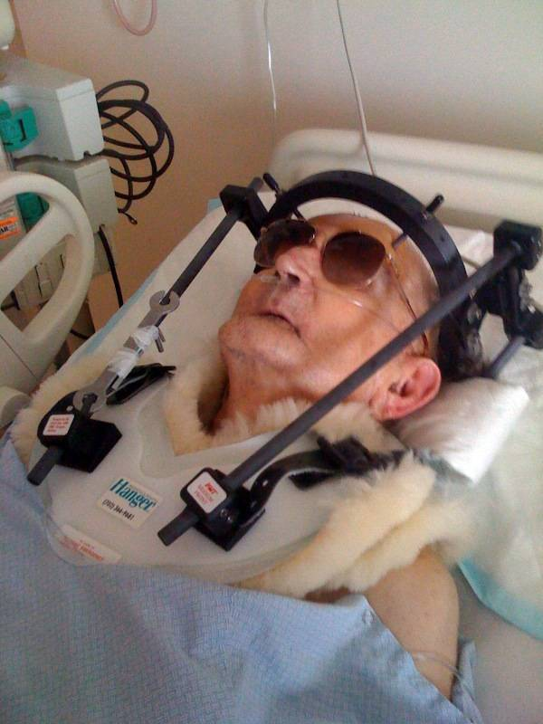 A courtesy photo of Morry Janovitz taken by his wife Pamela after his first fall in Spring Valley Hospital. In late 2008, then 82-year-old Morry Janovitz was admitted Spring Valley Hospital for pneumonia, and the day before he was scheduled to be discharged, he was found on the floor of his hospital room, his neck broken and forehead gashed. Two weeks later he was found on the floor again, this time with just a bruised elbow. Janovitz died from complications three months later.