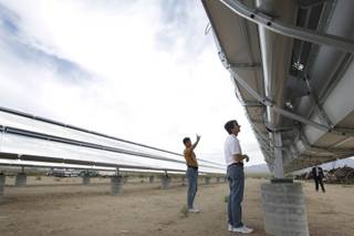 Jim Howard, left, and Dave Panish, independent engineering consultants fron orange County, look over the Skyline Solar facility in Nipton, Calif. Friday, June 11, 2010.  The 80 kilowatt power plant will provide 85% of Nipton's electricity needs.