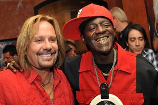 Vince Neil and Flavor Flav at the opening of the Motley Crue rocker's cantina and tequila bar Tres Rios in Las Vegas Hilton on June 12, 2010.