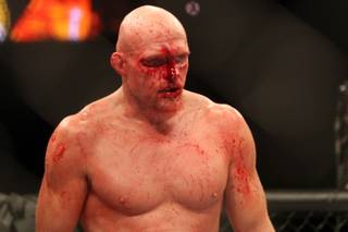 A bloodied Keith Jardine takes a break during a stop in the action during his fight against Matt Hamill in the Ultimate Fighter Season 11 Finale at the Pearl inside the Palms last June. Jardine lost a split decision and the UFC released him shortly after.